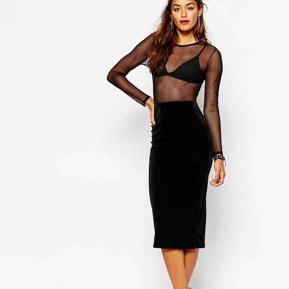 fc7b1fc6396361 Black Mesh   Velvet Long Sleeve Bodycon Dress. M 5adb9aec2ae12fca4e3b09fd